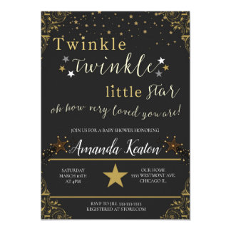 Twinkle baby shower invitation, little star baby card