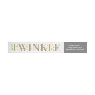 Twinkle Gold Star Baby Shower Return Address Label