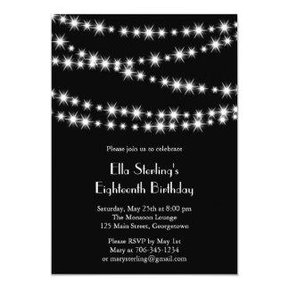 """Twinkle Lights Birthday Invitation (black) 5"""" X 7"""" Invitation Card"""