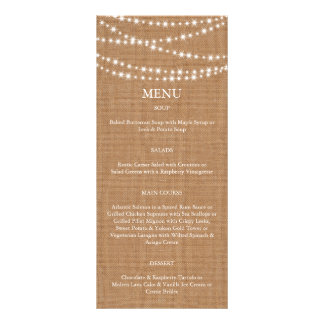 Twinkle LIghts Menu on Burlap