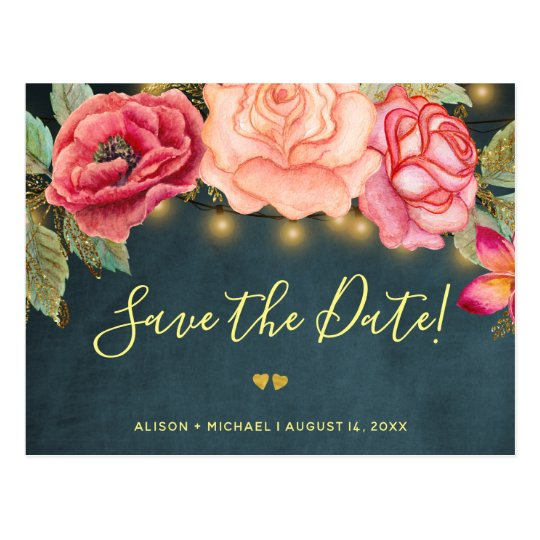 Twinkle lights navy blush roses wedding save date postcard