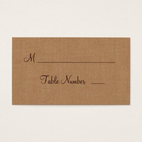 Twinkle Lights on Burlap Place Card