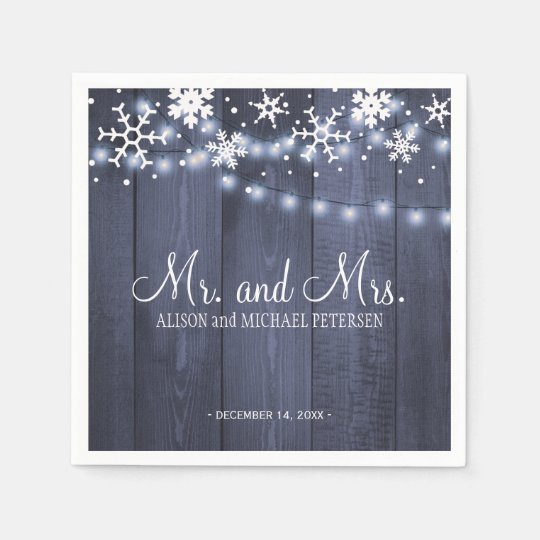 Twinkle lights snowflakes mr and mrs wedding paper