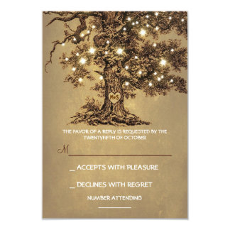 Twinkle Lights Tree Rustic Wedding RSVP card 9 Cm X 13 Cm Invitation Card