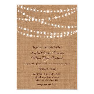 Twinkle Lights Wedding Invitation on Burlap