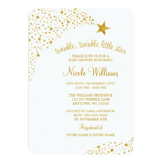 Twinkle Little Shooting Star Faux Gold Baby Shower 11 Cm X 16 Cm Invitation Card
