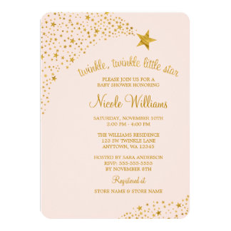 Twinkle Little Shooting Star Pink Gold Baby Shower 11 Cm X 16 Cm Invitation Card