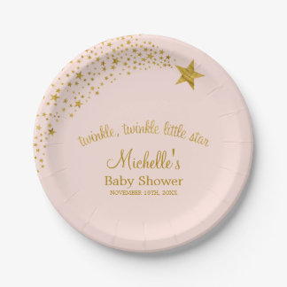 Twinkle Little Shooting Star Pink Gold Baby Shower 7 Inch Paper Plate