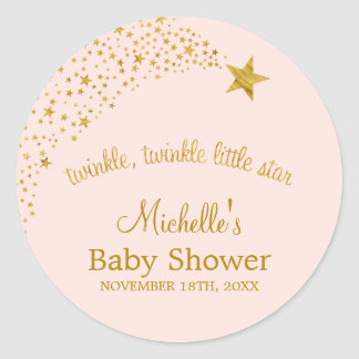 Twinkle Little Shooting Star Pink Gold Baby Shower Classic Round Sticker