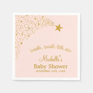 Twinkle Little Shooting Star Pink Gold Baby Shower Disposable Serviettes