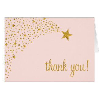 Twinkle Little Shooting Star Pink Gold Thank You Note Card