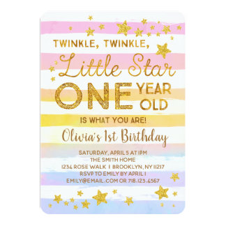 Twinkle Little Star 1st Birthday Invitation