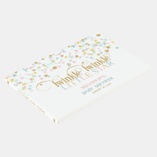 Twinkle Little Star Baby Gold Aqua Pink Guest Book