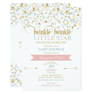 Twinkle Little Star Baby Shower Any Color 13 Cm X 18 Cm Invitation Card