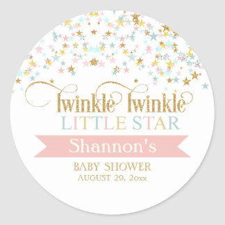 Twinkle Little Star Baby Shower Any Color Round Sticker