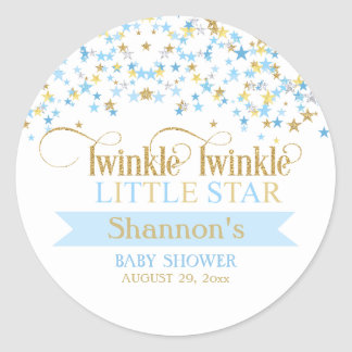 Twinkle Little Star Baby Shower Blue & Gold Round Sticker