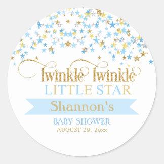 Twinkle Little Star Baby Shower Blue & Gold Round Sticker