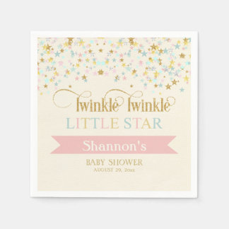 Twinkle Little Star Baby Shower Gold Aqua Pink Paper Napkins