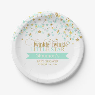 Twinkle Little Star Baby Shower Mint Green 7 Inch Paper Plate
