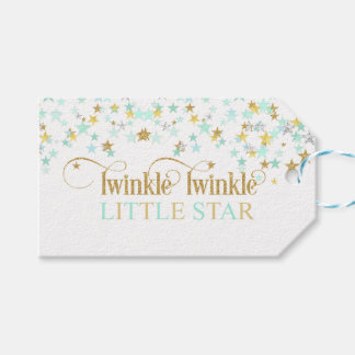 Twinkle Little Star Baby Shower Mint Green Gift Tags