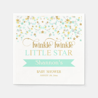 Twinkle Little Star Baby Shower Mint Green Gold Paper Napkins