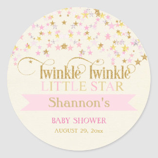 Twinkle Little Star Baby Shower Pink Gold Creme Classic Round Sticker
