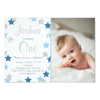 Twinkle Little Star Boy birthday invitation Blue