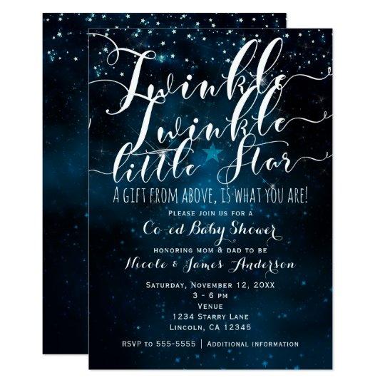 Twinkle Little Star Celestial Starry Baby Shower Card