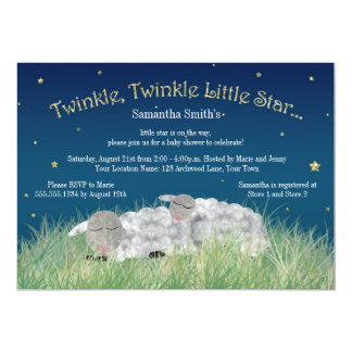 Twinkle Little Star Cute Sheep Baby Shower Card