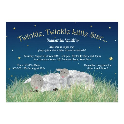 Twinkle Little Star Cute Sheep Baby Shower Announcement
