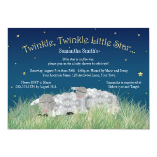 Twinkle Little Star Cute Sheep Baby Shower Personalized Invitation