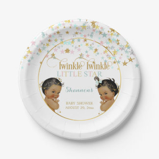 Twinkle Little Star Ethnic Baby Gender Neutral 7 Inch Paper Plate