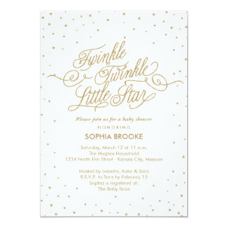 Twinkle Little Star Fancy Gold & White Baby Shower Card