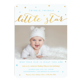 Twinkle Little Star First Birthday Invitation Boy