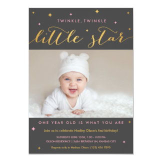 Twinkle Little Star First Birthday Invitation Girl