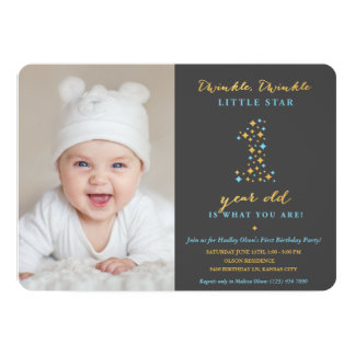 Twinkle Little Star First Birthday Invitations Boy