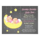 Twinkle Little Star Girl Twins Baby Shower Custom Card