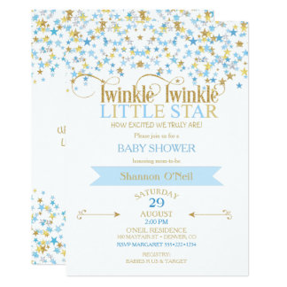 Twinkle Little Star Gold & Baby Blue 13 Cm X 18 Cm Invitation Card