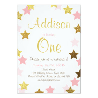 Twinkle Little Star pink gold birthday invitation