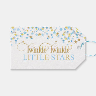 Twinkle Little Stars Twins Baby Shower Blue & Gold Gift Tags