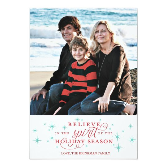 Twinkle Red Script & Blue Stars Holiday Photo Card