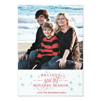 Twinkle Red Script & Blue Stars Holiday Photo Card 13 Cm X 18 Cm Invitation Card