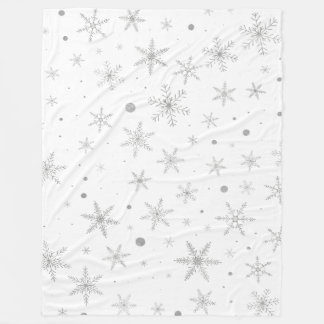 Twinkle Snowflake -Silver Grey & White- Fleece Blanket