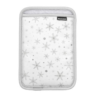 Twinkle Snowflake -Silver Grey & White- iPad Mini Sleeve