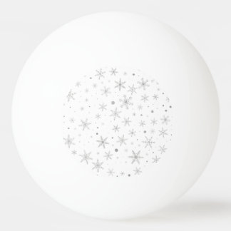 Twinkle Snowflake -Silver Grey & White- Ping Pong Ball