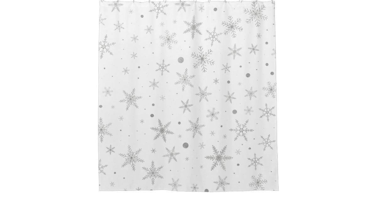 Twinkle Snowflake Silver Grey Amp White Shower Curtain Zazzle Co Uk