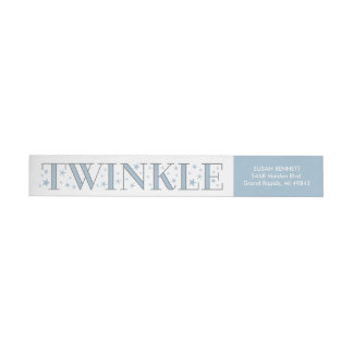 Twinkle Star Baby Shower Return Address Label Blue