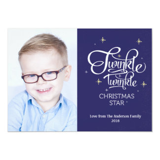 Twinkle Star Christmas Photo Card 13 Cm X 18 Cm Invitation Card