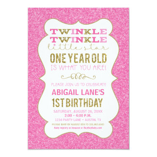 Twinkle Star First Birthday Invitation Pink Gold