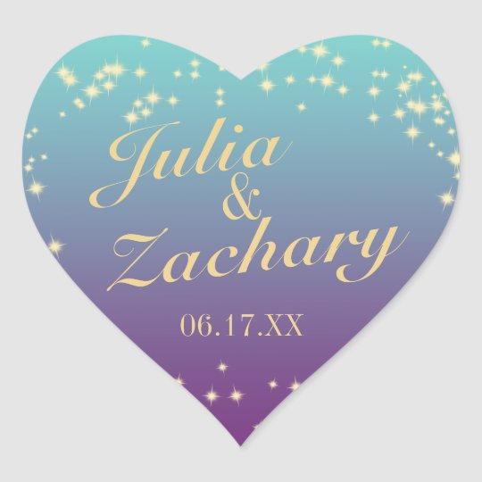 Twinkle Stars Ombre' Teal Purple Wedding Heart Sticker
